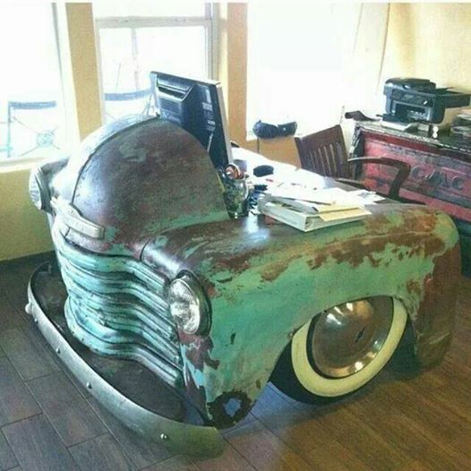 Upcycled Car Work Desk
