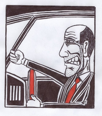 Angry driver gesticulating
