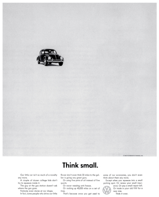 selling my VW think small campaign